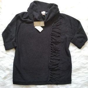 Chicos Fringe Kenton Cowl Sweater Black 0